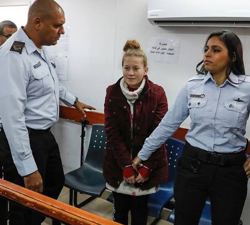 "The 17-year-old girl, 'Ahed al-Tamimi, during her trial in Israeli ""Ofer"" Military Court"