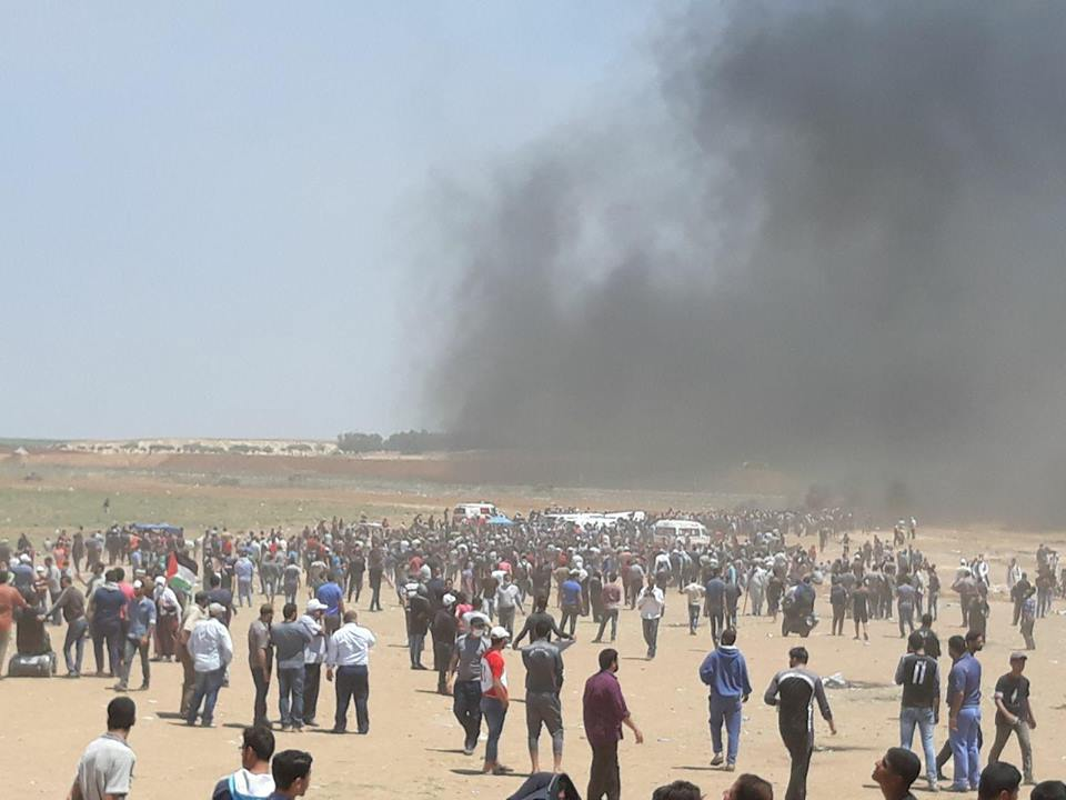 Civilians Demonstrating along Border Fence in Northern Gaza Strip