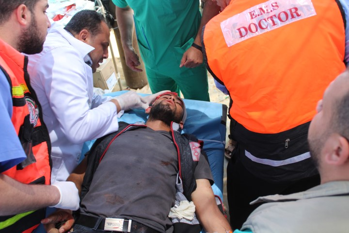 Civilian Wounded near the border fence in Eastern Rafah