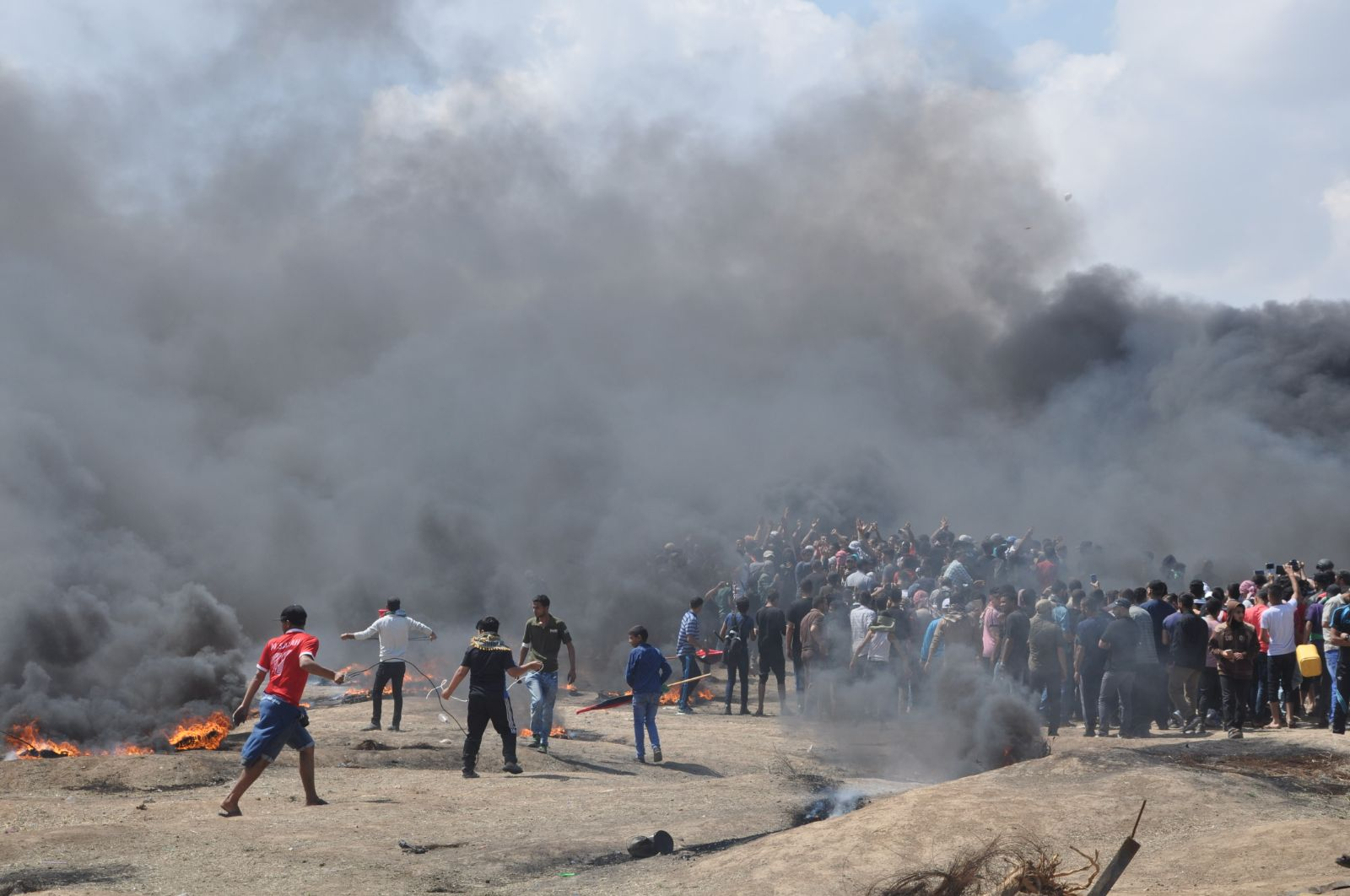 Civilians Demonstrating along Border Fence in Eastern Gaza City