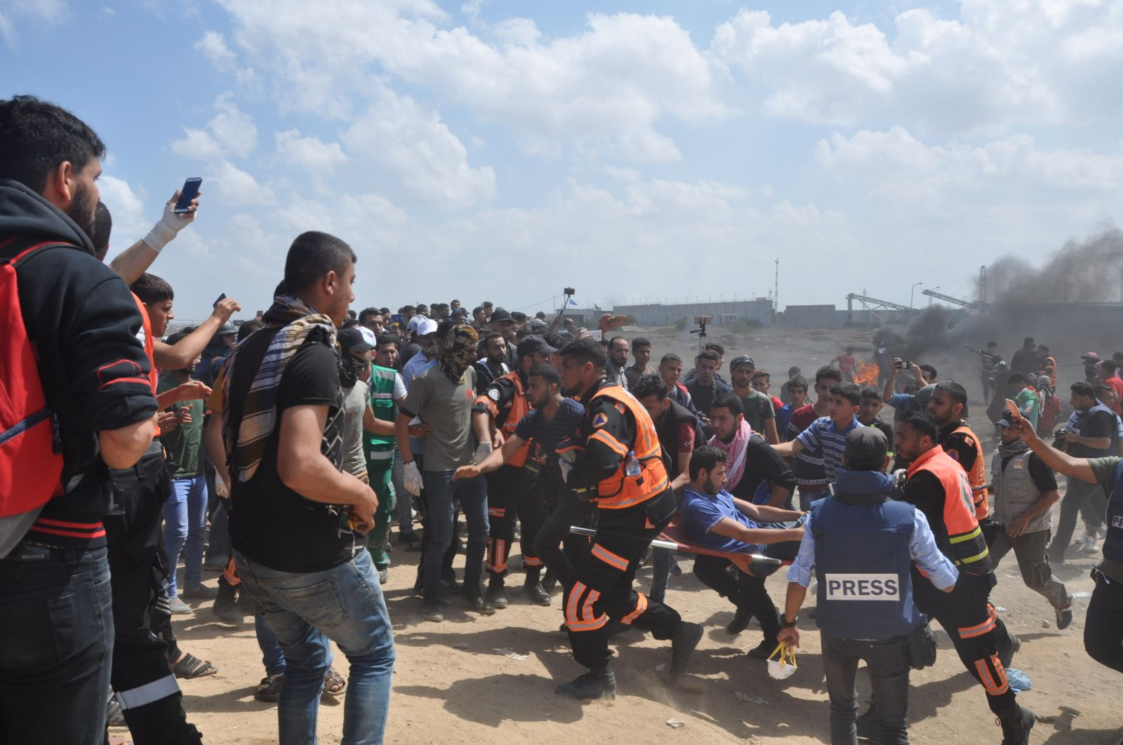 Civilian Wounded near the border fence in Eastern Gaza City