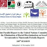 Palestinian, regional, and international groups submit report on Israeli apartheid to UN Committee on the Elimination of Racial Discrimination
